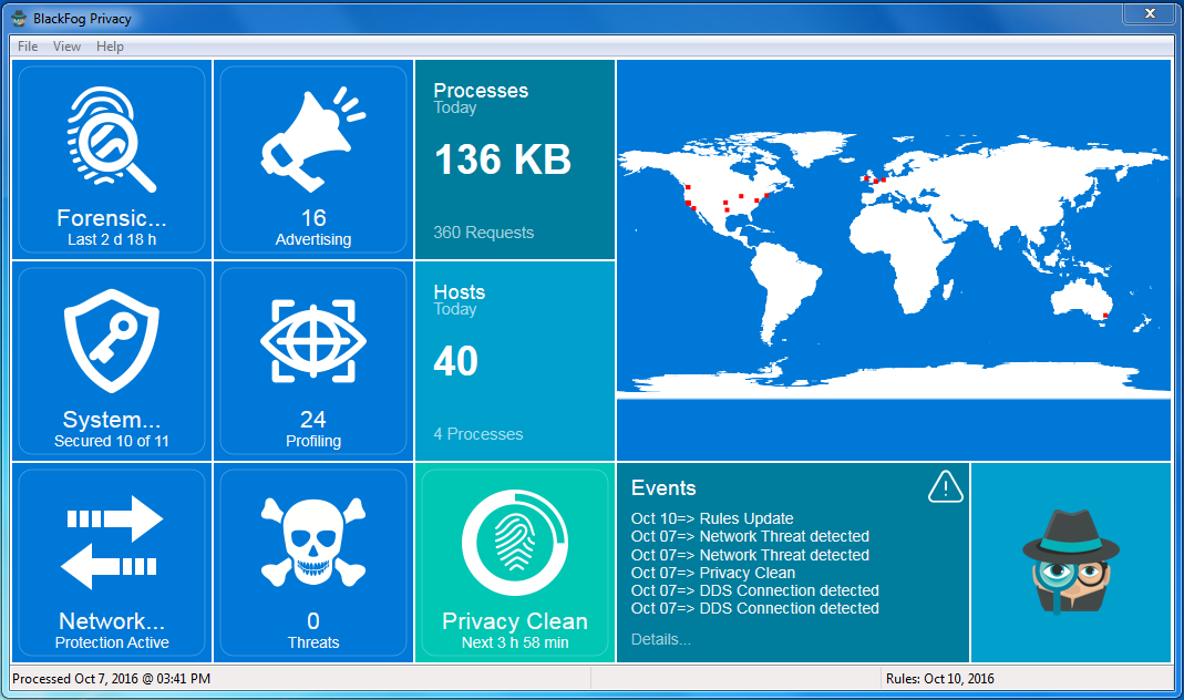 BlackFog for Windows Privacy Dashboard