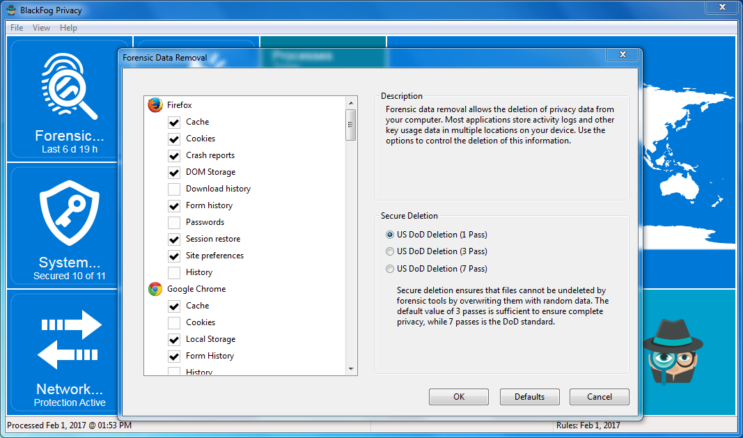 BlackFog for Windows Forensic Options