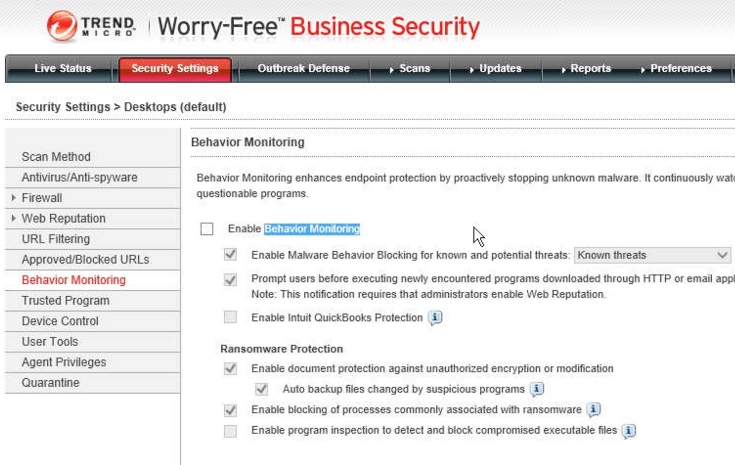 Trend Micro Worry-Free Business Security configuration
