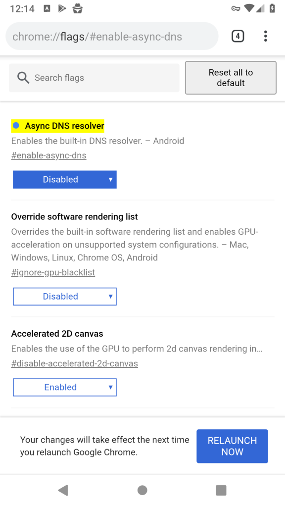 Disable Android Async DNS on Chrome