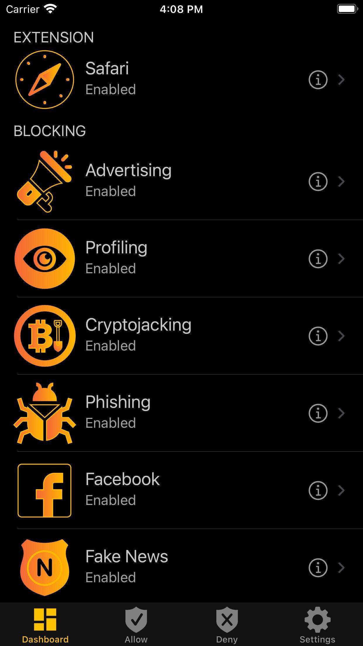 BlackFog iOS Dashboard