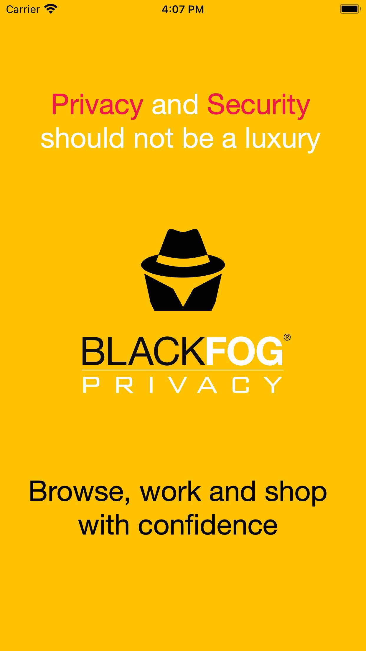 BlackFog iOS Splash