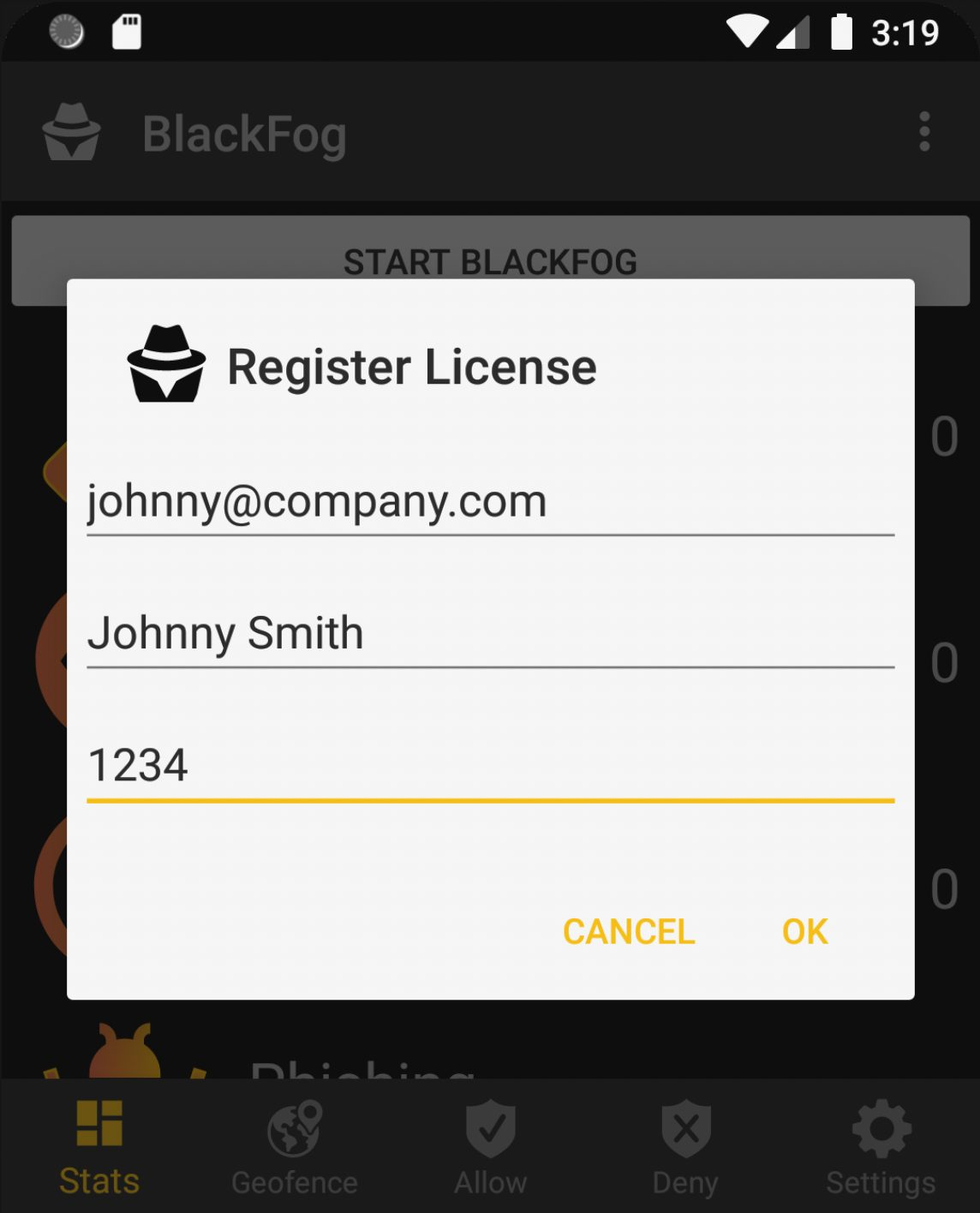 Android License Registration